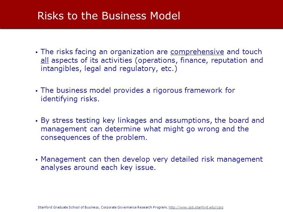 Risks to the Business Model