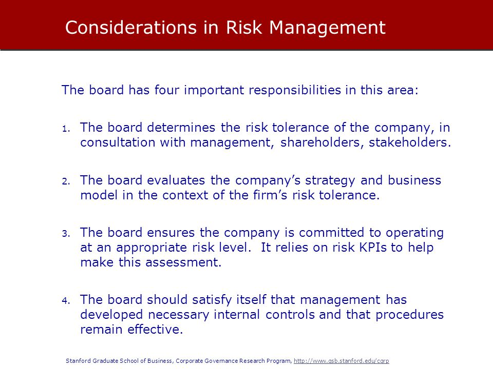 Considerations in Risk Management
