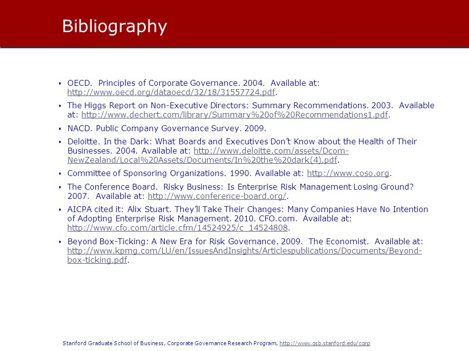 Bibliography OECD. Principles of Corporate Governance Available at: