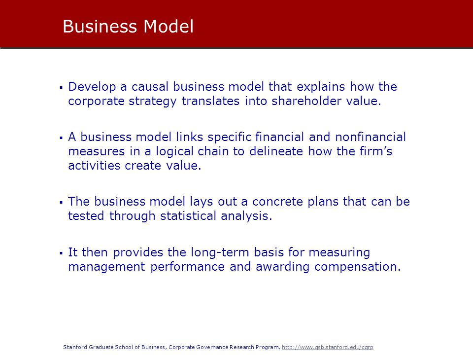 Business Model Develop a causal business model that explains how the corporate strategy translates into shareholder value.