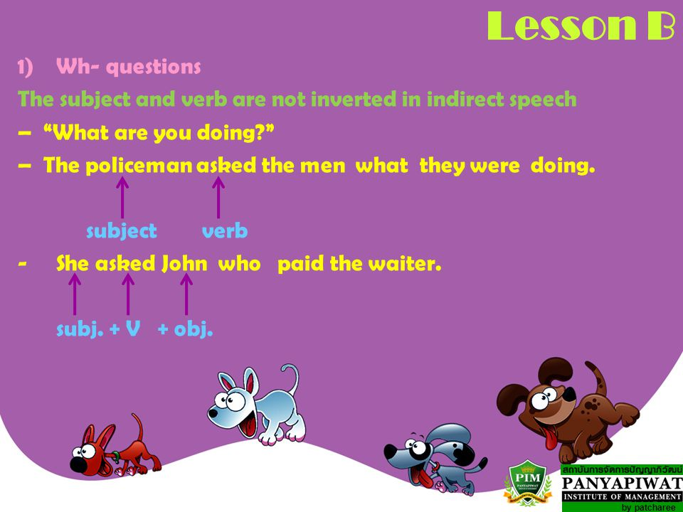 Lesson B Wh- questions. The subject and verb are not inverted in indirect speech. – What are you doing
