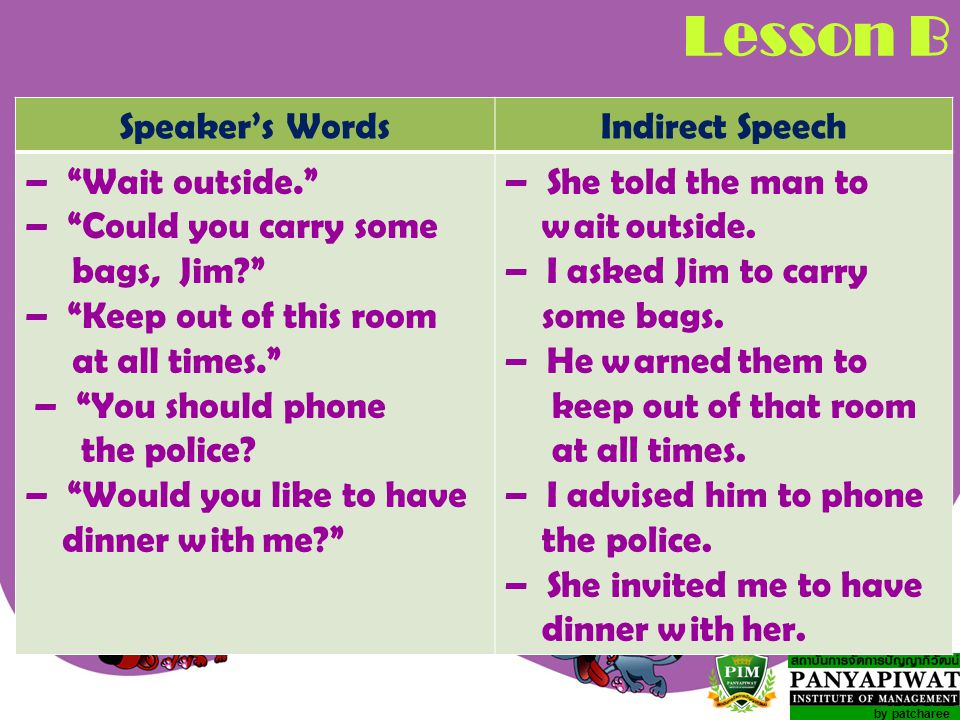 Lesson B Speaker's Words Indirect Speech – Wait outside.