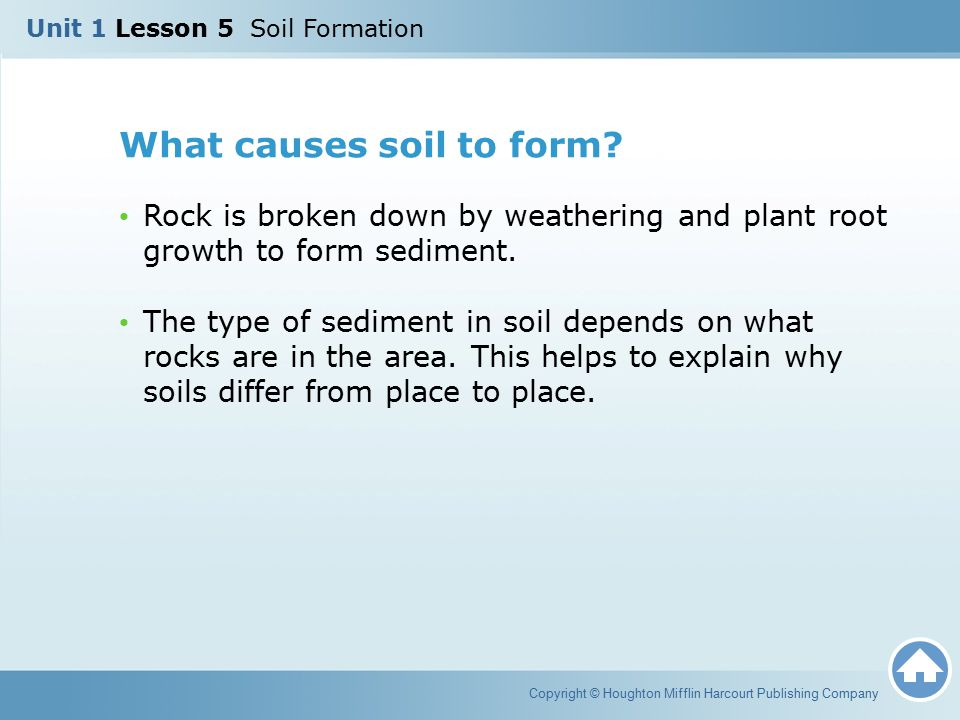 What causes soil to form