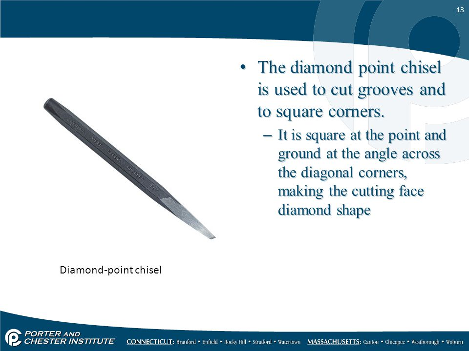 The diamond point chisel is used to cut grooves and to square corners.