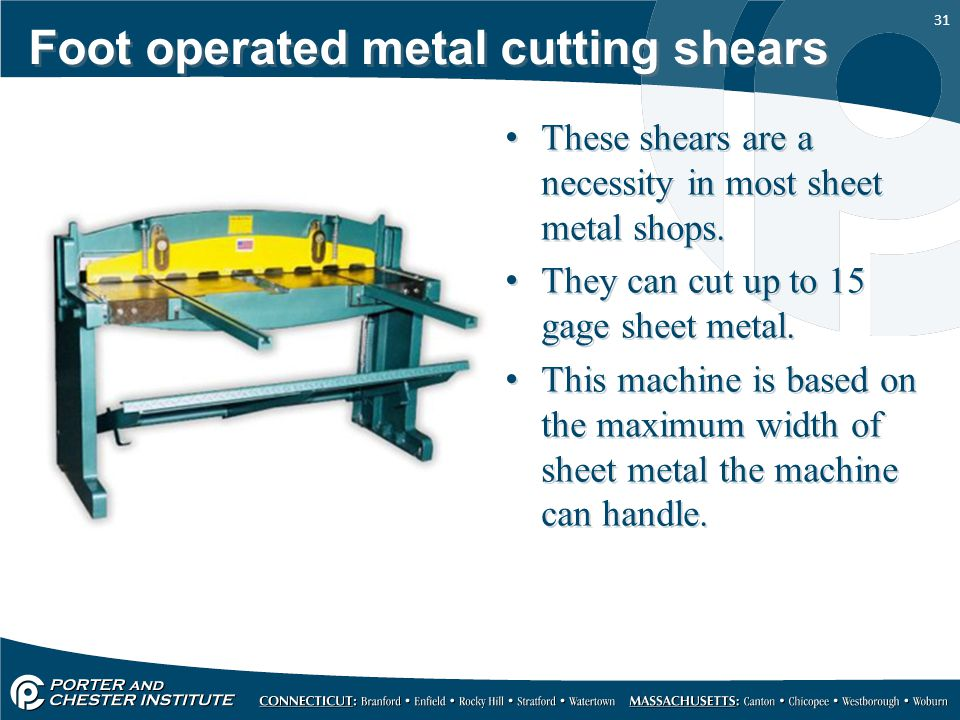 Foot operated metal cutting shears