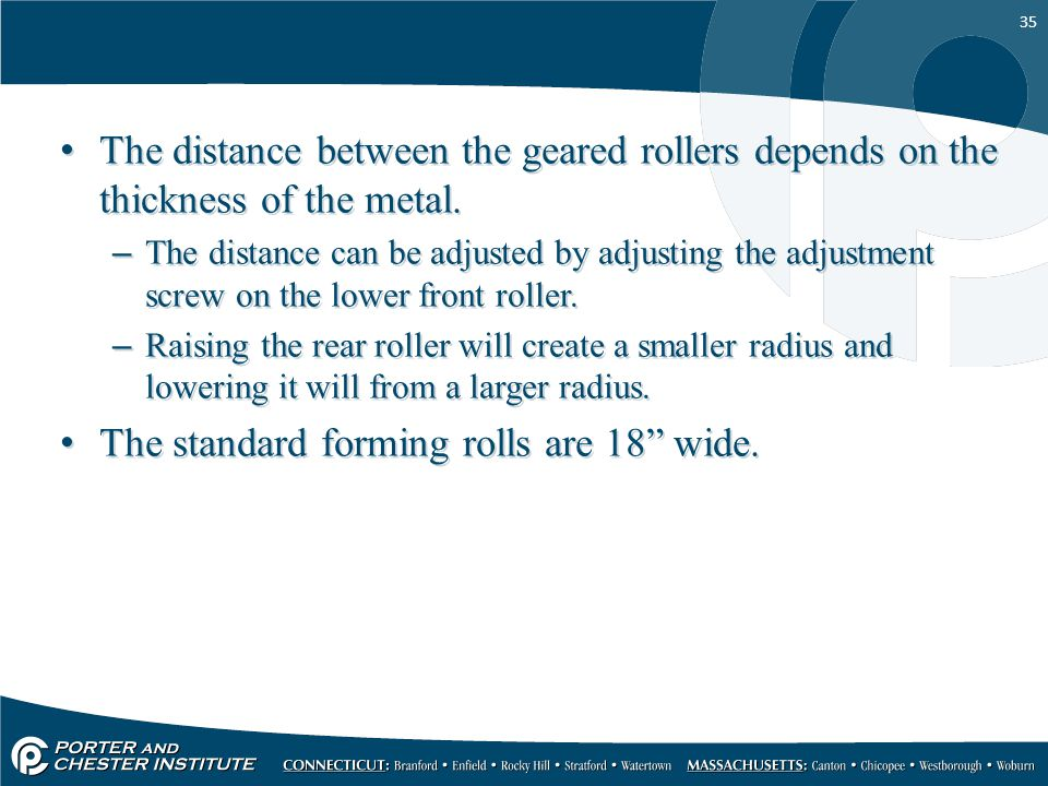 The standard forming rolls are 18 wide.