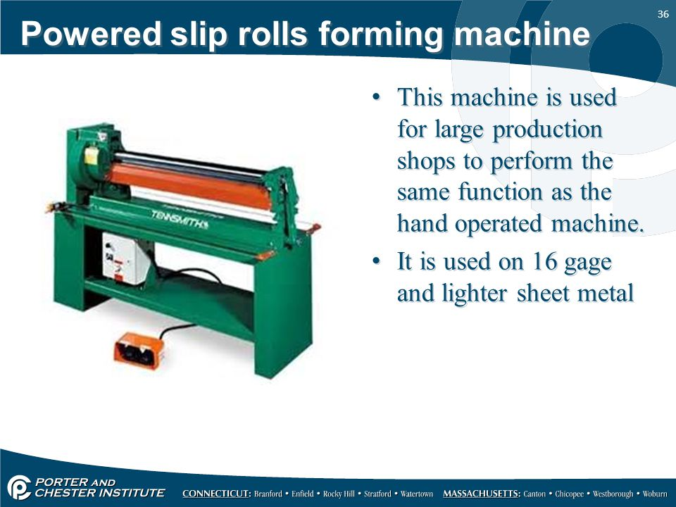 Powered slip rolls forming machine
