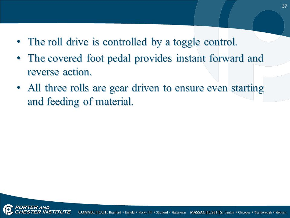 The roll drive is controlled by a toggle control.