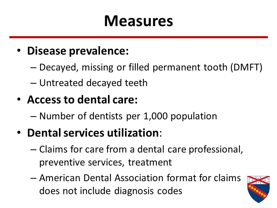 Measures Disease prevalence: Access to dental care: