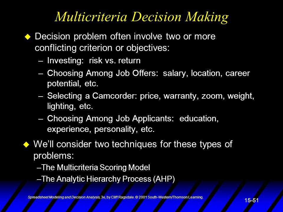 spreadsheet modeling decision analysis ppt download