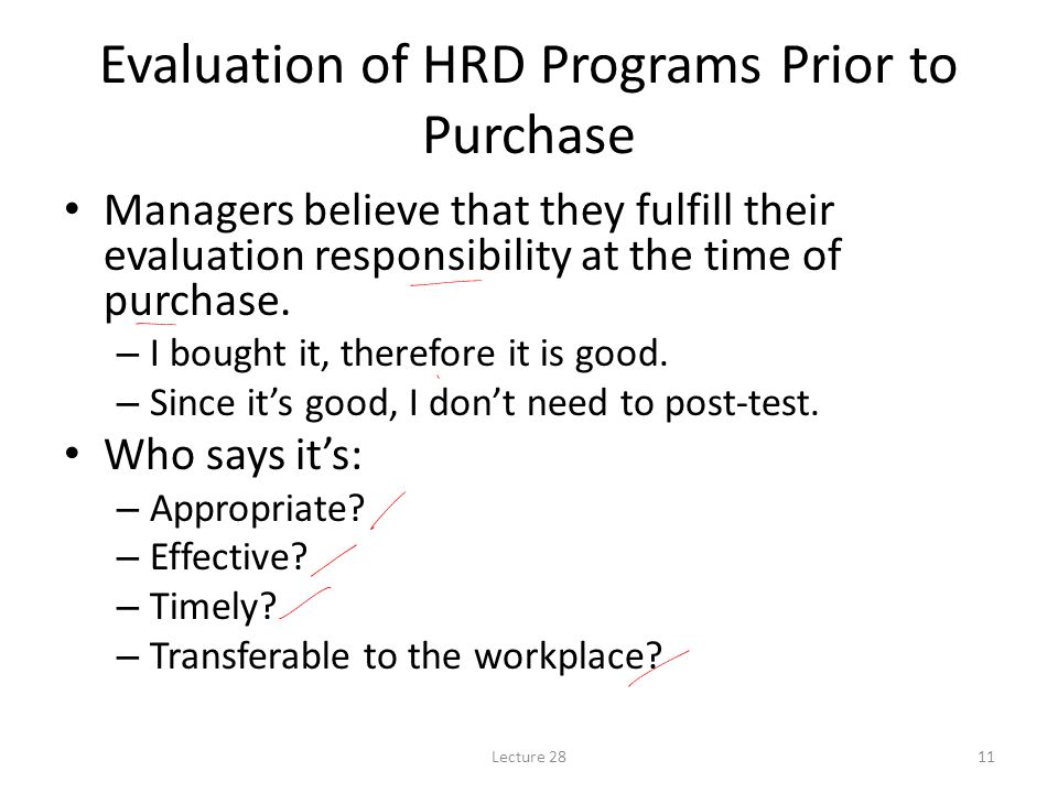 Evaluation of HRD Programs Prior to Purchase