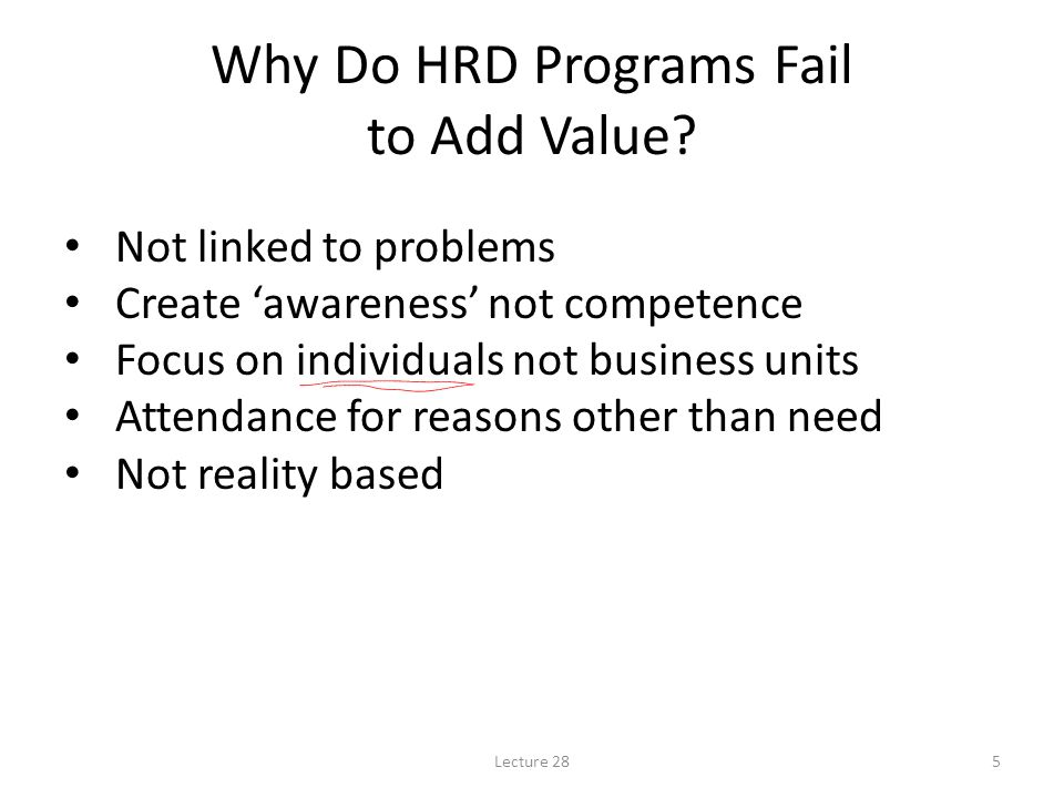 Why Do HRD Programs Fail to Add Value
