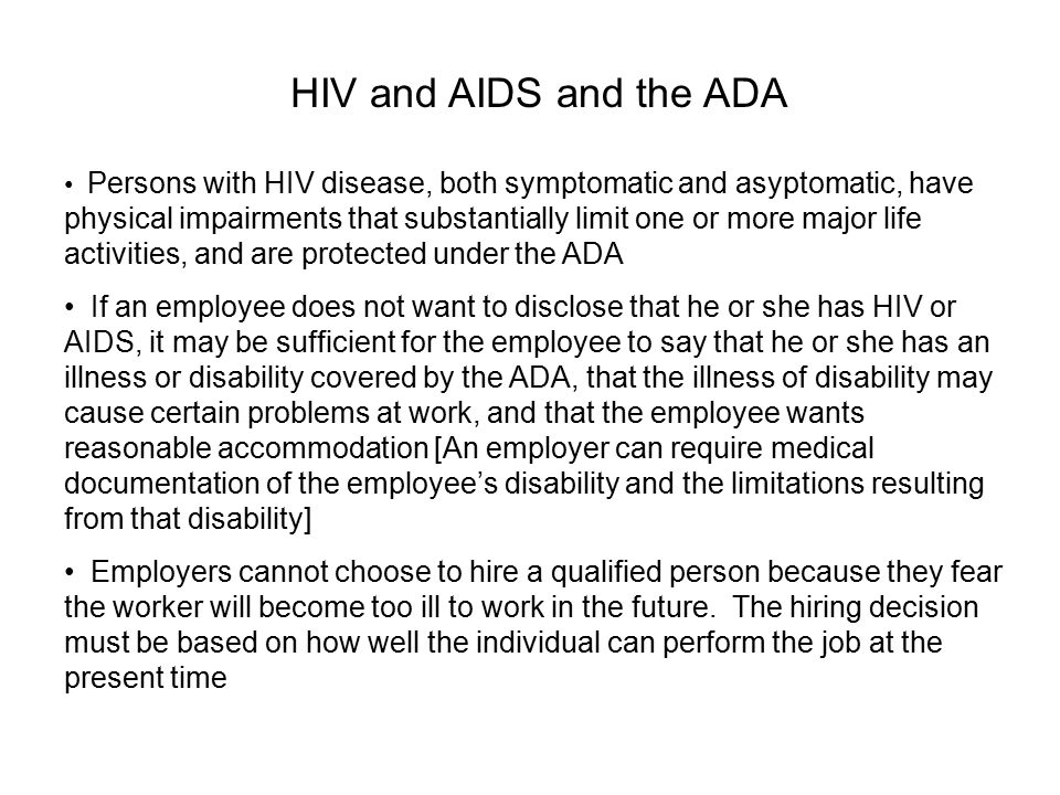 HIV and AIDS and the ADA