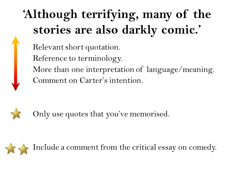 Research Essay Proposal Sample Comment On Carters Intention Only Use Quotes That Youve Memorised  Include A Comment From The Critical Essay On Comedy English Composition Essay also Example Essay English Although Terrifying Many Of The Stories Are Also Darkly Comic  Proposal Essay Topics List