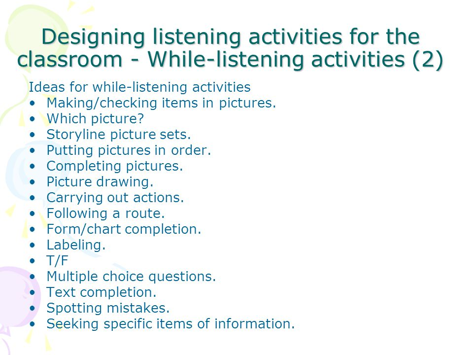 Designing listening activities for the classroom - While-listening activities (2)