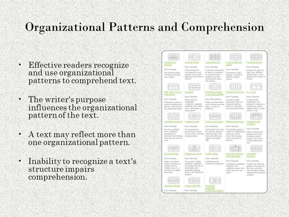 Organizational Patterns and Comprehension