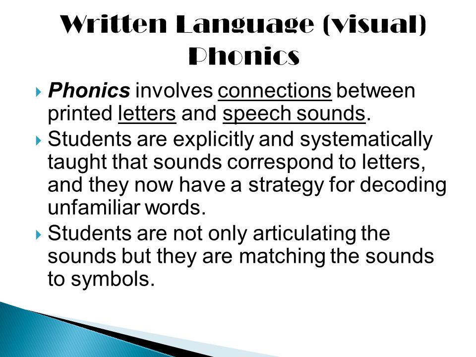 Written Language (visual) Phonics