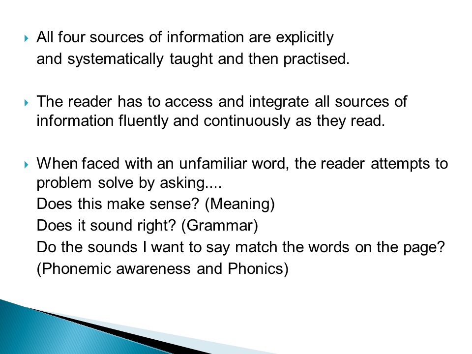 All four sources of information are explicitly