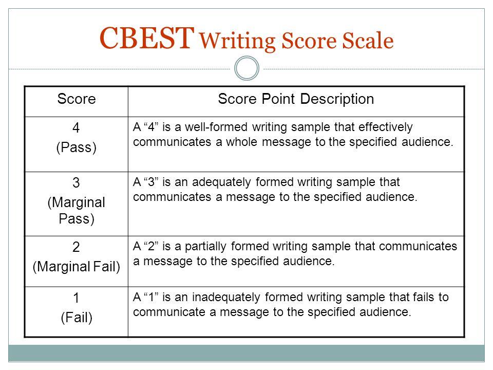 CBEST Writing Score Scale