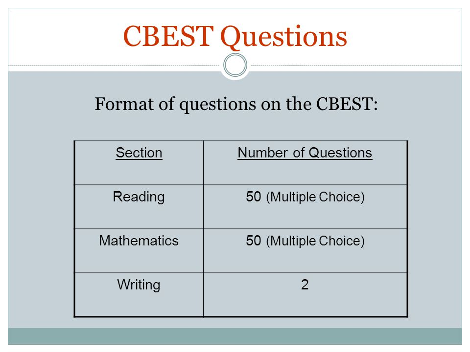 Format Of Questions On The CBEST