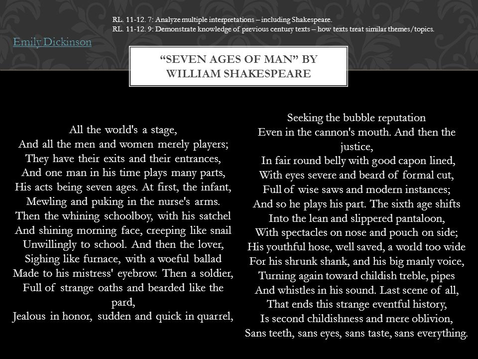 seven ages of man william shakespeare meaning