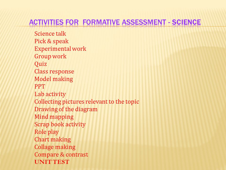 ACTIVITIES FOR FORMATIVE assessment - Science