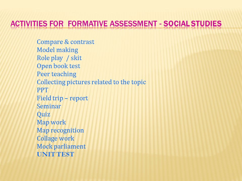 ACTIVITIES FOR FORMATIVE assessment - Social Studies