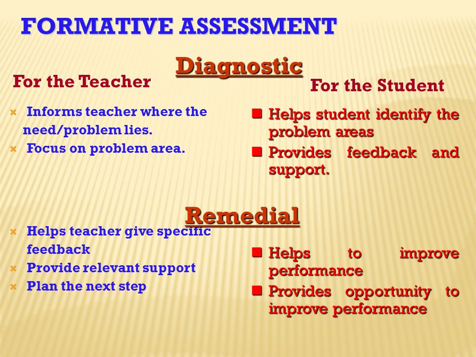 Formative Assessment Diagnostic Remedial For the Teacher