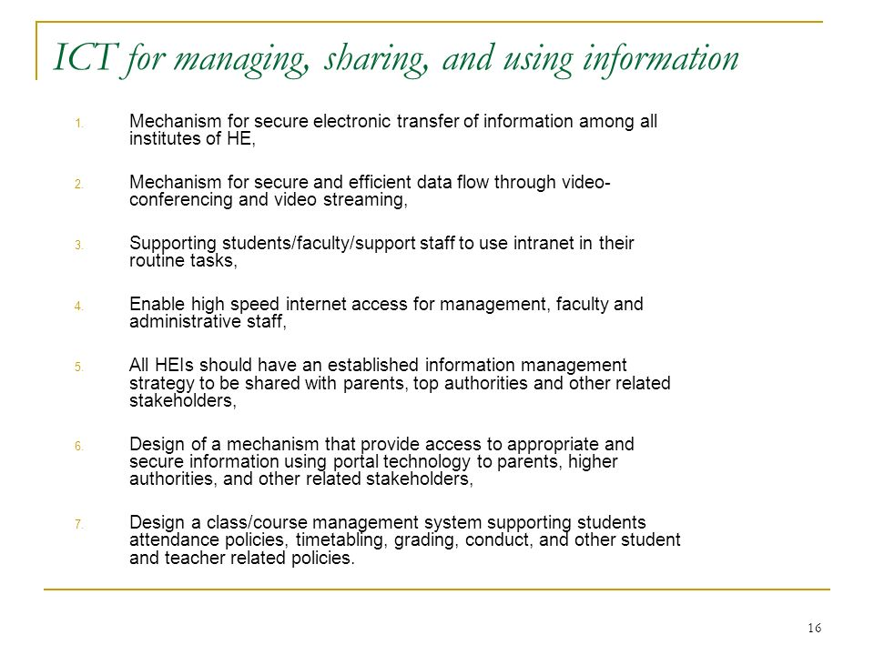 ICT for managing, sharing, and using information
