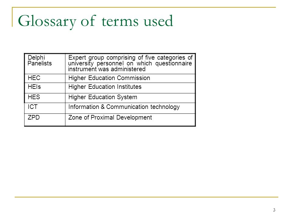 Glossary of terms used Delphi Panelists
