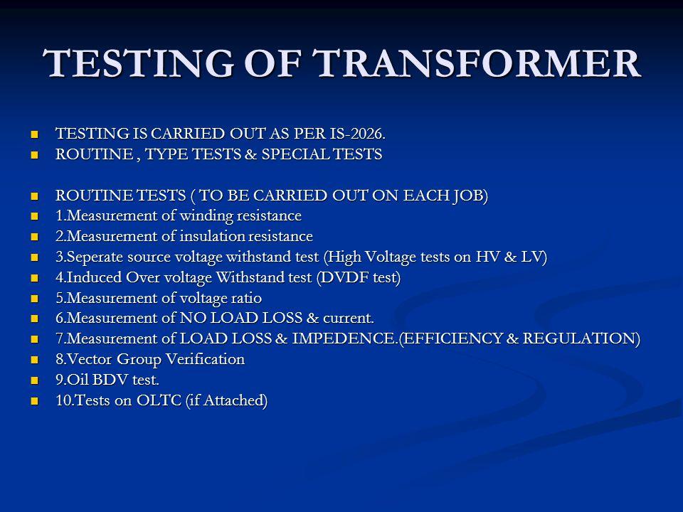 TESTING, MAINTENANCE & PROTECTION OF DISTRIBUTION