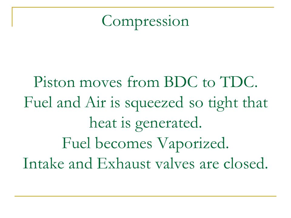 Compression Piston moves from BDC to TDC