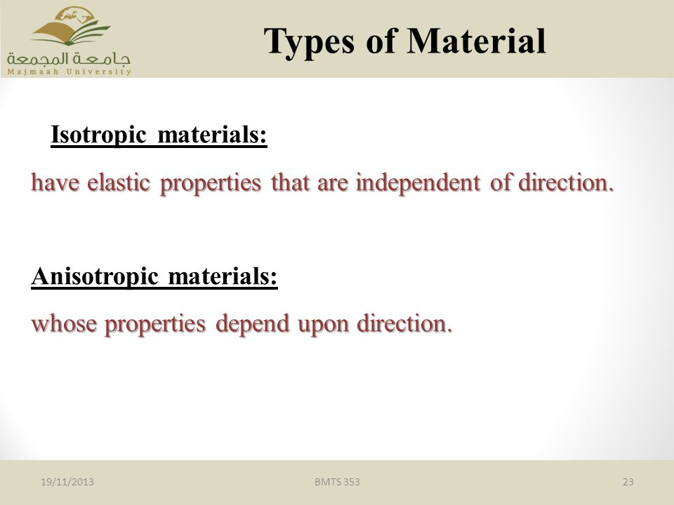 Types of Material Isotropic materials: