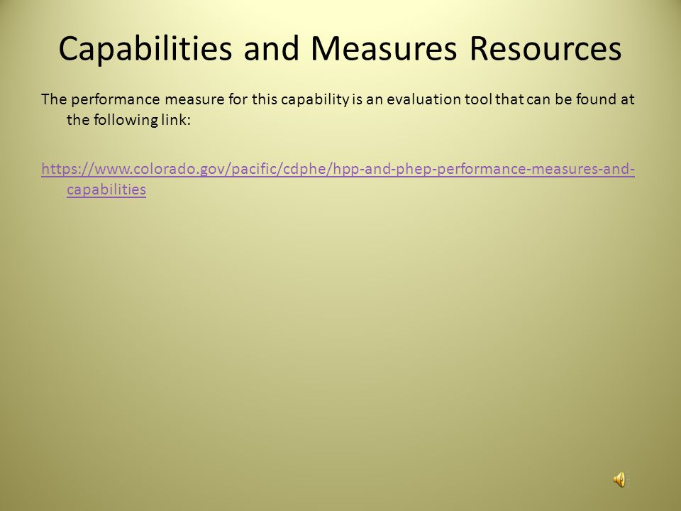 Capabilities and Measures Resources