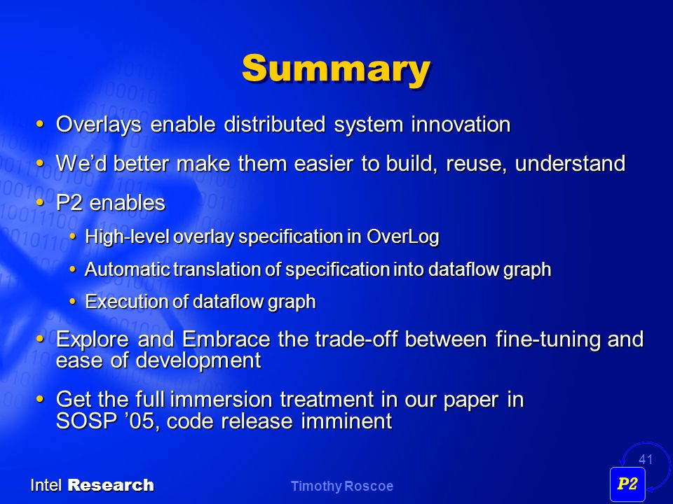 Summary Overlays enable distributed system innovation