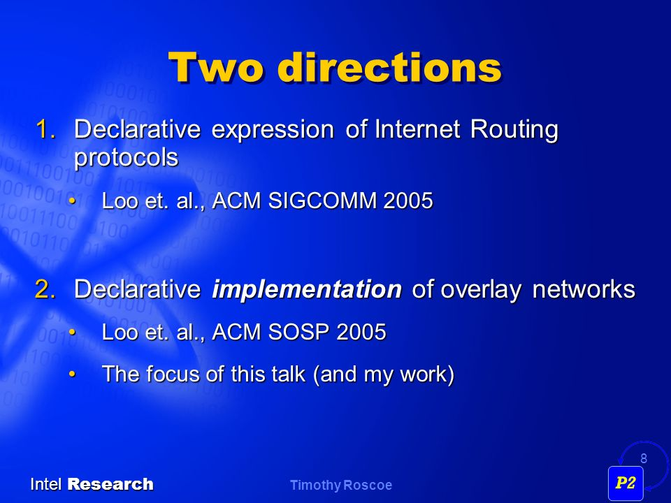 Two directions Declarative expression of Internet Routing protocols