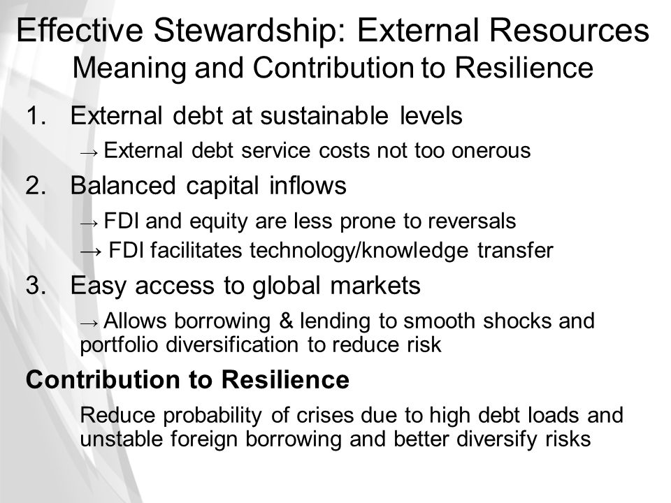 Effective Stewardship: External Resources Meaning and Contribution to Resilience