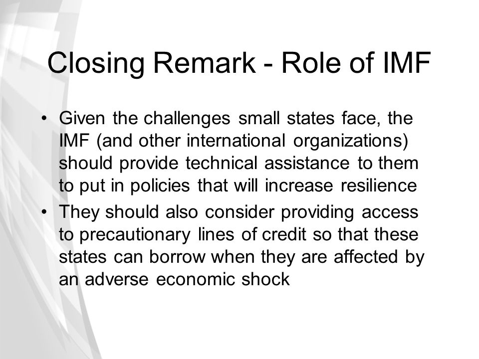 Closing Remark - Role of IMF