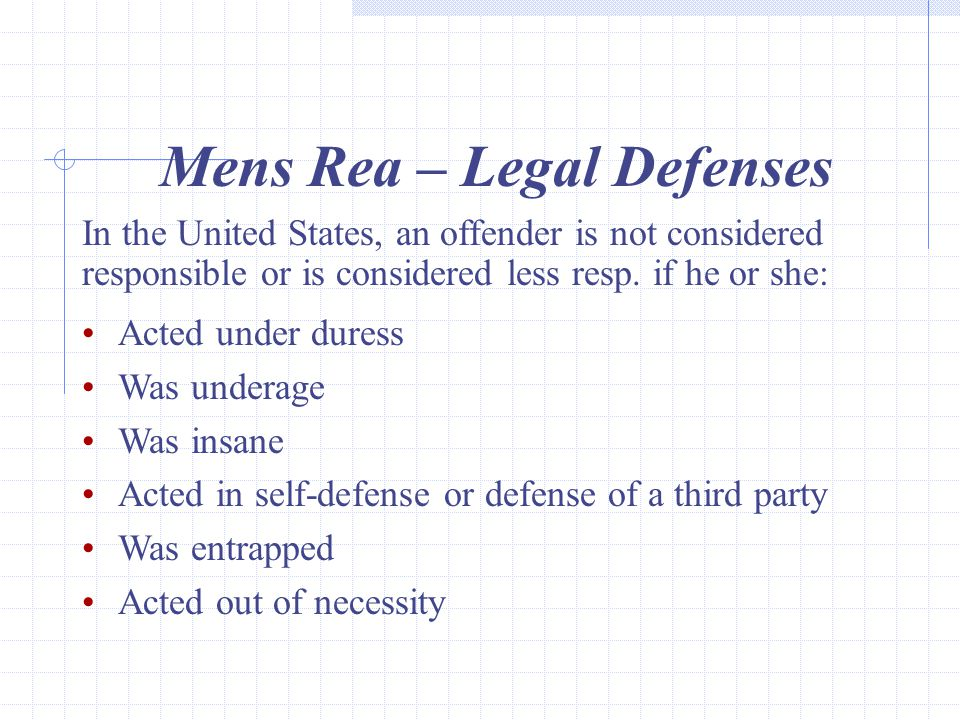 Mens Rea – Legal Defenses