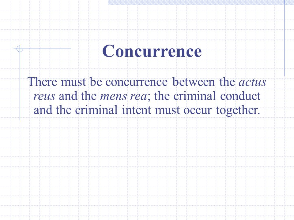 Concurrence There must be concurrence between the actus reus and the mens rea; the criminal conduct and the criminal intent must occur together.