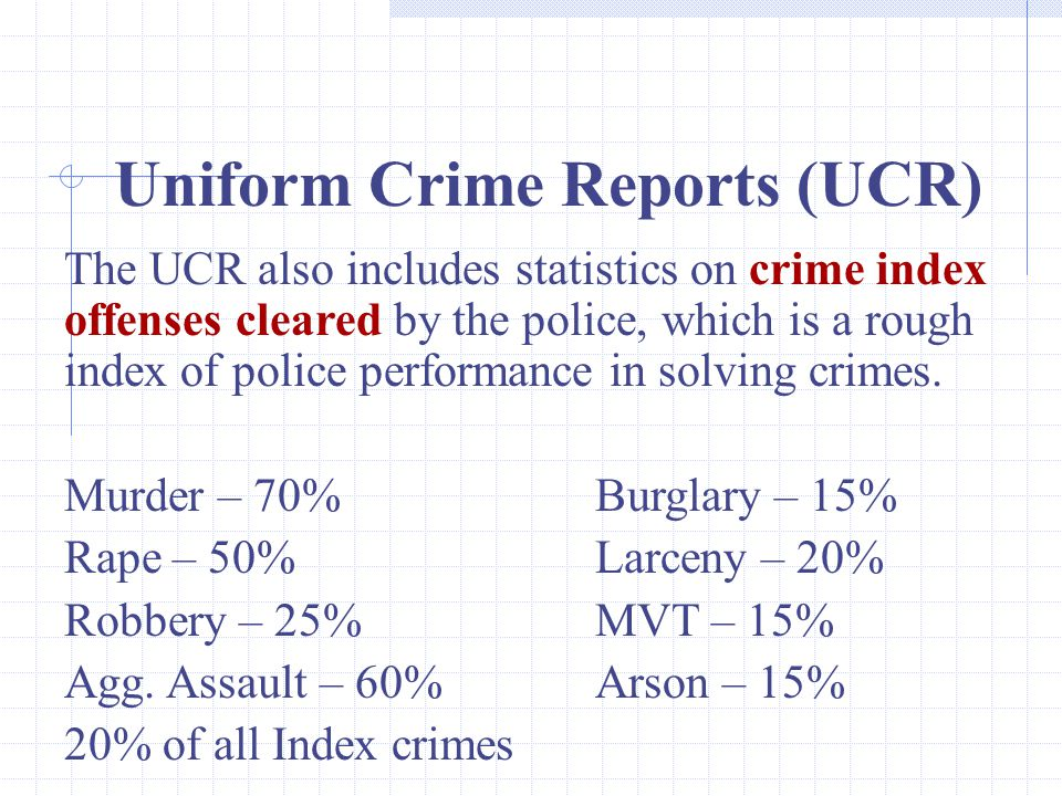 Uniform Crime Reports (UCR)