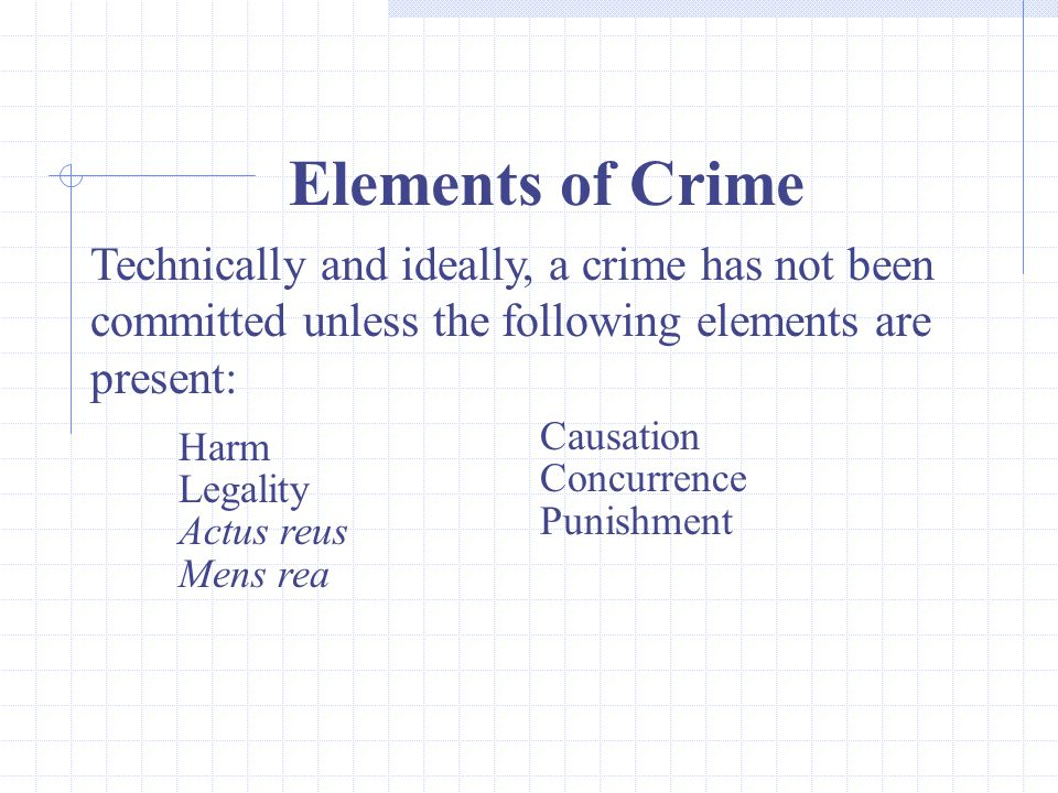 Elements of Crime Technically and ideally, a crime has not been committed unless the following elements are present: