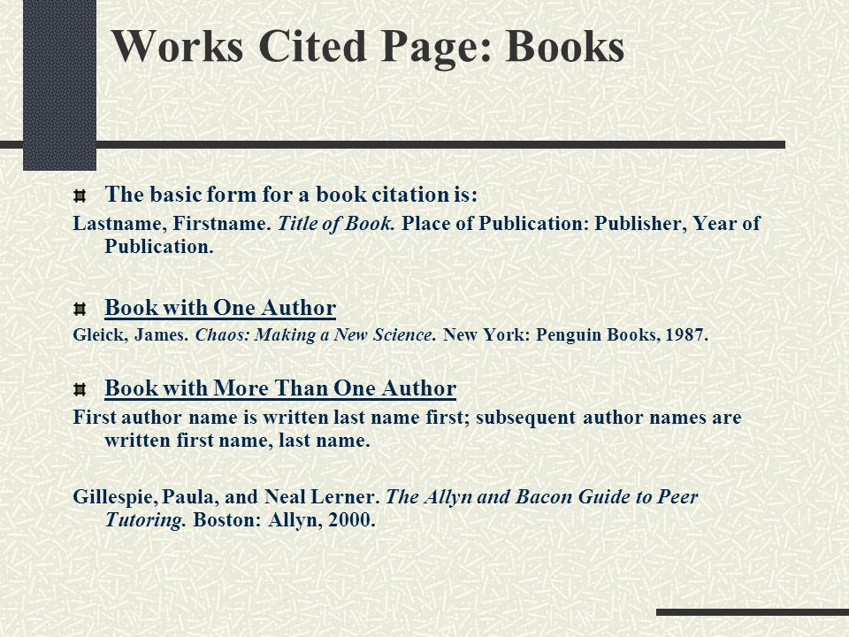 The mla bibliography format ppt download works cited page books ccuart Image collections