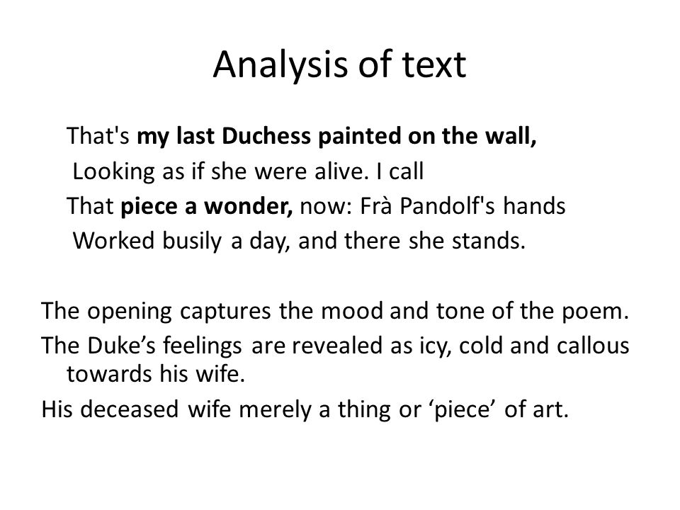 analysis of the poem my last duchess by robert browning