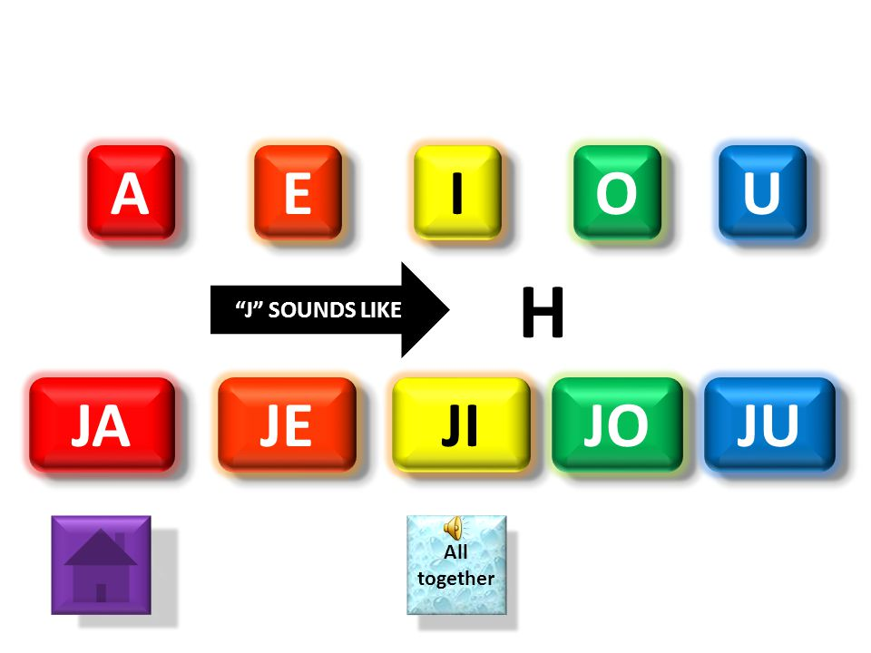 A E I O U J SOUNDS LIKE H JA JE JI JO JU All together
