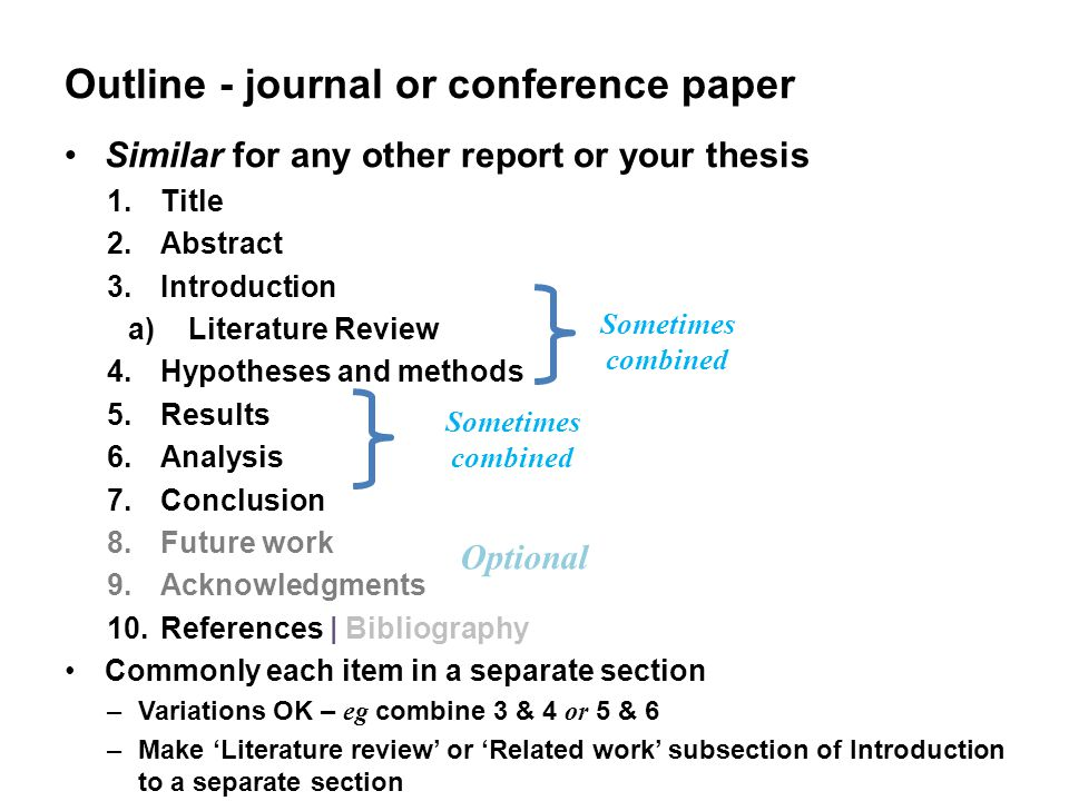 academic journal paper outline Writing an academic paper  journals and other material in the um libraries' collections and search netdoc databases for journal citations, full-text resources, abstracts  outline your paper list, classify, group, and number all discussion points write your rough draft.
