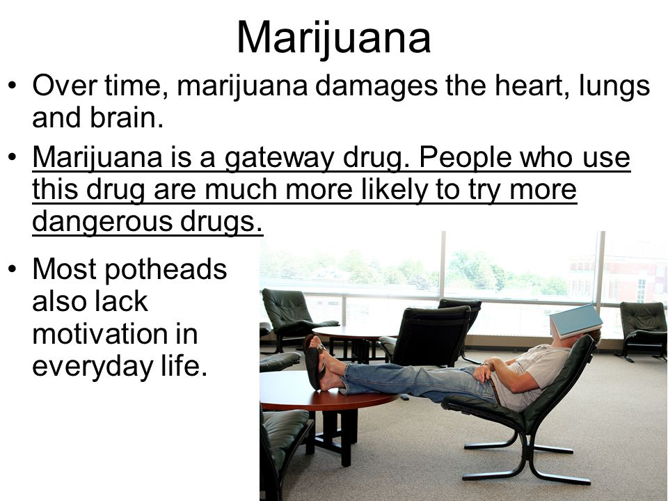 Marijuana Over time, marijuana damages the heart, lungs and brain.