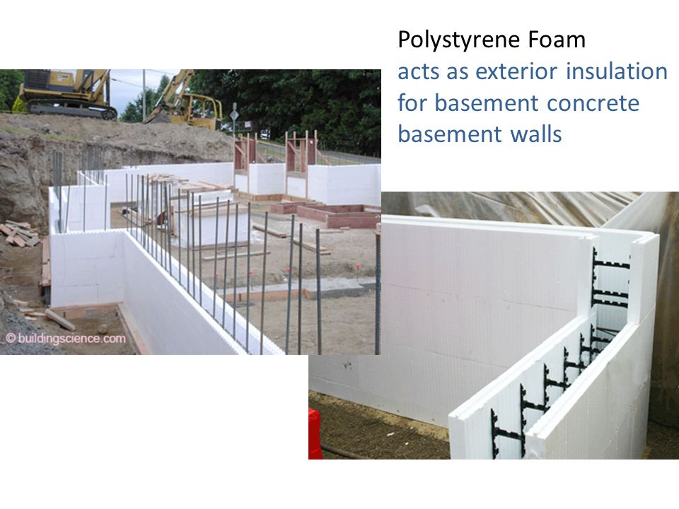 acts as exterior insulation for basement concrete basement walls