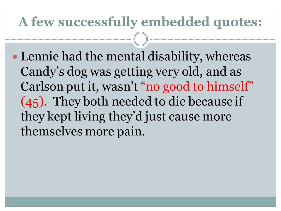 quotes that show lennies mental disability