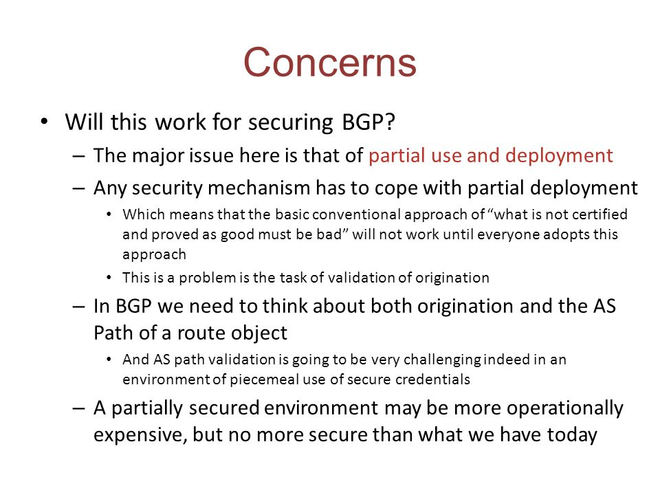 Concerns Will this work for securing BGP